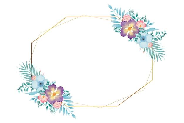 Kleurrijke aquarel bloemen krans frame achtergrond