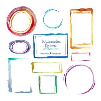 Kleurrijke aquarel frame-collectie