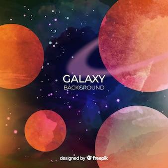Kleurrijke aquarel galaxy achtergrond