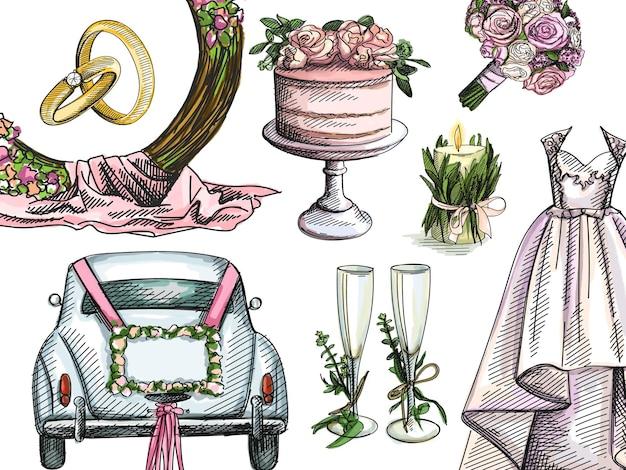 Kleurrijke aquarel handgetekende aquarel bruiloft set.