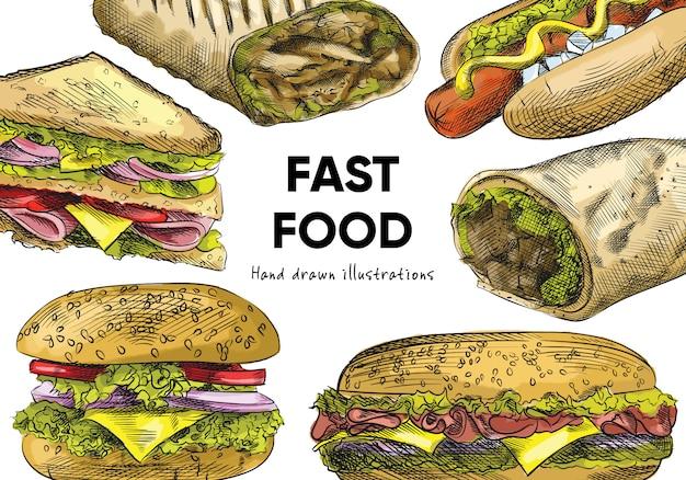 Kleurrijke aquarel handgetekende schets van junk food en snacks set (fast food set). de set bestaat uit een grote cheeseburger, hotdog met mosterd, clubsandwich, sandwich, shoarma, fajitas, burrito