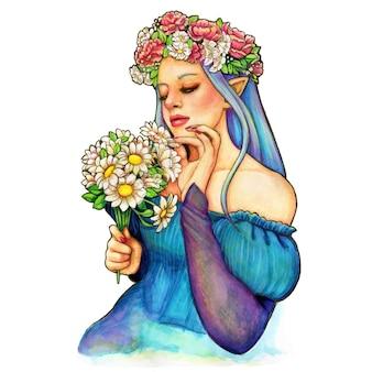 Kleurrijke aquarel illustratie van een elfachtig meisje met madeliefjes boeket en pioenroos kroon