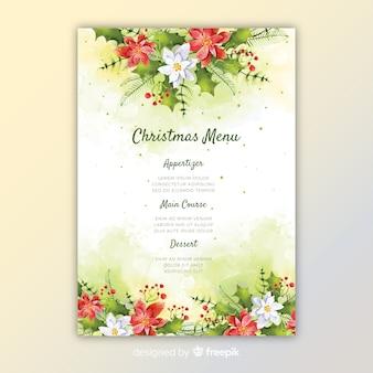 Kleurrijke aquarel kerst menusjabloon