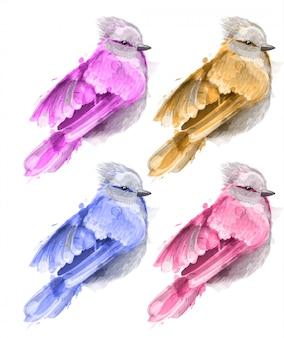 Kleurrijke aquarel kleine vogel