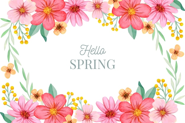 Kleurrijke aquarel lente achtergrond