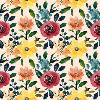 Kleurrijke aquarel naadloze bloemmotief