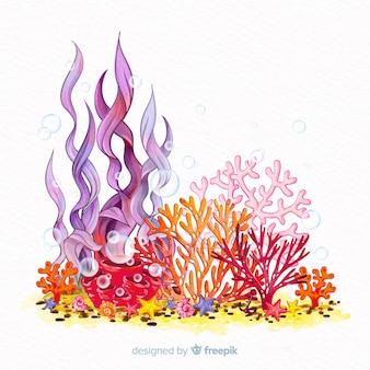 Kleurrijke aquarel onderwater koraal achtergrond