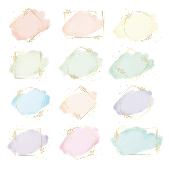 Kleurrijke aquarel splash met geometrie gouden blad frame collectie digitaal schilderen