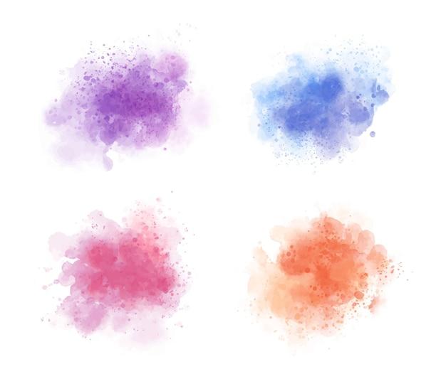 Kleurrijke aquarel splatter set
