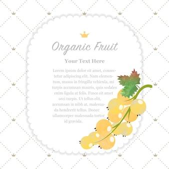 Kleurrijke aquarel textuur natuur biologisch fruit memo frame gele bes