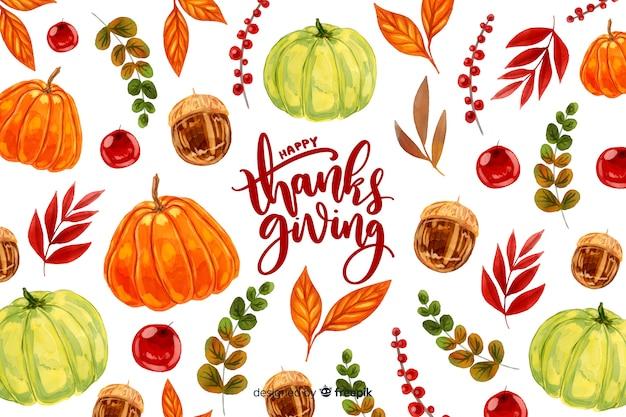 Kleurrijke aquarel thanksgiving achtergrond