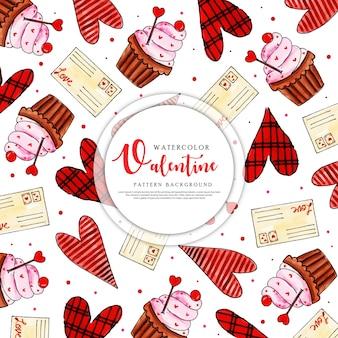 Kleurrijke aquarel valentine patroon achtergrond
