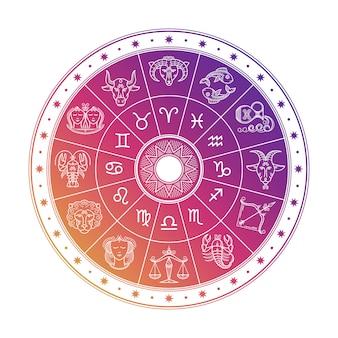 Kleurrijke astrologiecirkel met horoscooptekens die op witte achtergrond worden geïsoleerd