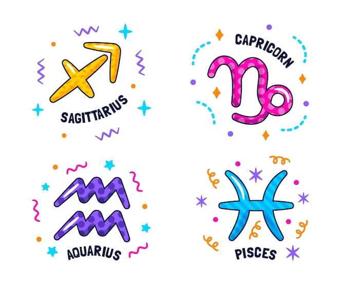 Kleurrijke astrologische tekensinzameling