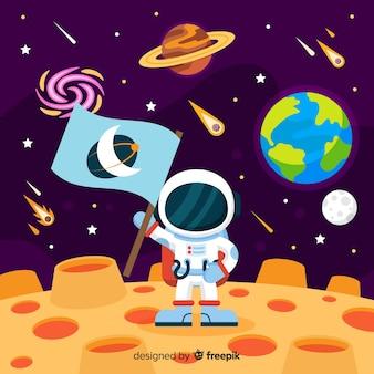 Kleurrijke astronautensamenstelling met vlak ontwerp