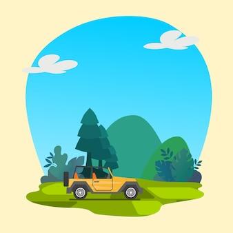 Kleurrijke auto met natuur achtergrond premium vector