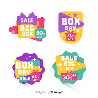 Kleurrijke badges boxen dag verkoop collectie