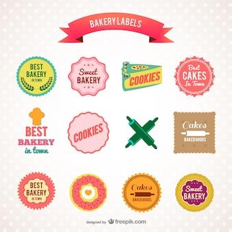 Kleurrijke bakkerij etiketten