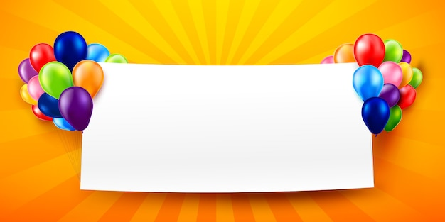 Kleurrijke ballon met blanco papier
