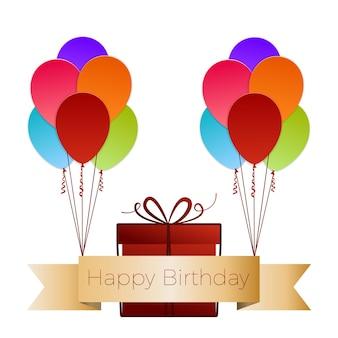 Kleurrijke ballon met geschenkdoos happy birthday wenskaart. papieren kunst. vectorillustratie met geïsoleerde ontwerpelementen