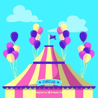 Kleurrijke ballonnen achtergrond met circus