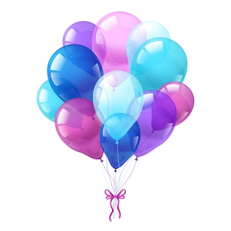 Kleurrijke ballonnen bos witte achtergrond