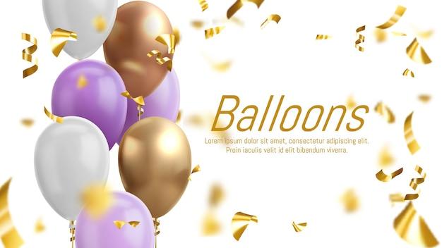 Kleurrijke ballonnen en gouden confetti.