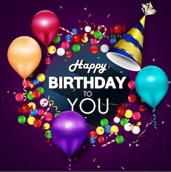 Kleurrijke ballonnen happy birthday op paarse achtergrond
