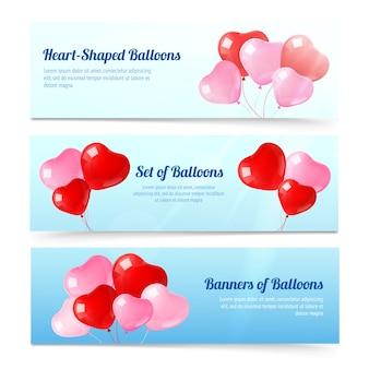 Kleurrijke ballonnen horizontale banners instellen