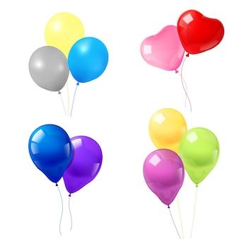 Kleurrijke ballonnen iconen samenstelling