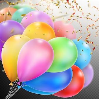 Kleurrijke ballonnen met confetti.