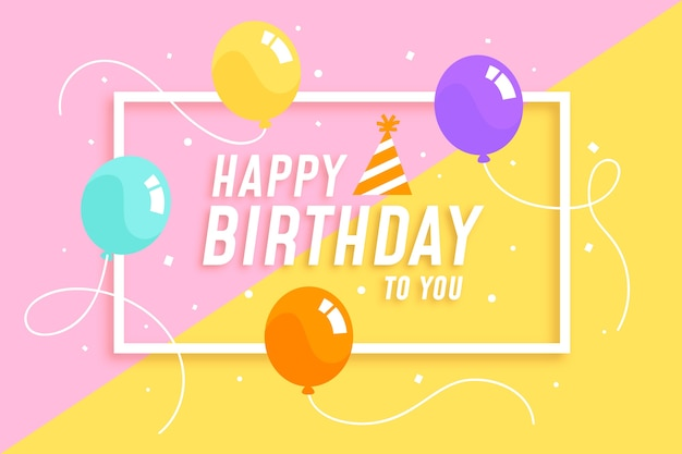 Kleurrijke ballonnen met string gelukkige verjaardag achtergrond