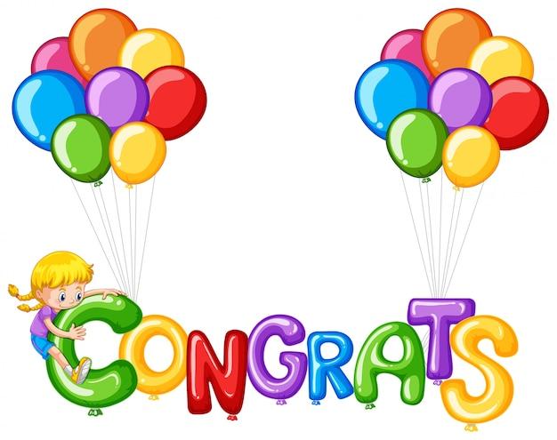 Kleurrijke ballonnen met woord congrats