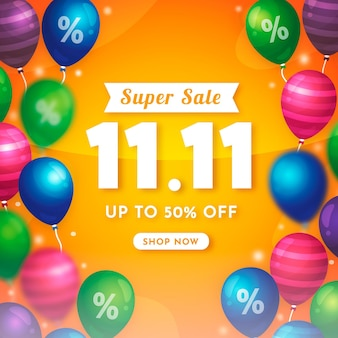 Kleurrijke ballonnen singles day verkoop illustratie