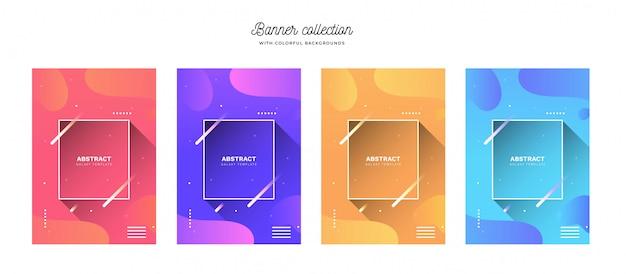 Kleurrijke banner collectie met levendige achtergronden