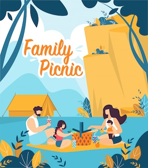 Kleurrijke banner is geschreven familie picnic cartoon.
