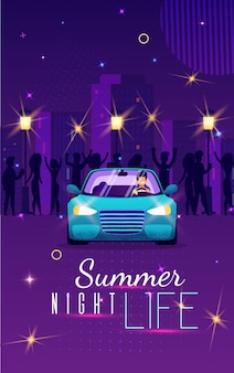 Kleurrijke banner zomer nachtleven, belettering