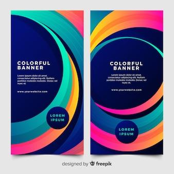 Kleurrijke banners met abstracte vormen