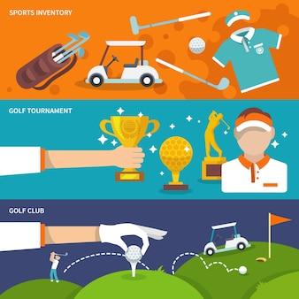 Kleurrijke banners met golf artikelen