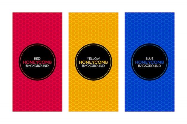Kleurrijke banners met honingraattexturen