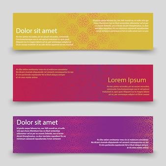 Kleurrijke banners sjabloon. banners met abstract ornamentenontwerp