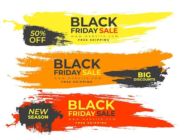 Kleurrijke banners spatten voor black friday