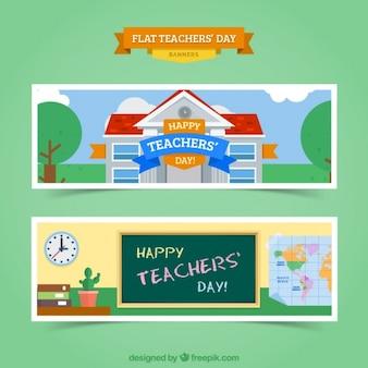 Kleurrijke banners voor de dag van de leraar in vlakke stijl