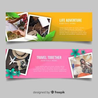 Kleurrijke banners voor reizend avontuur