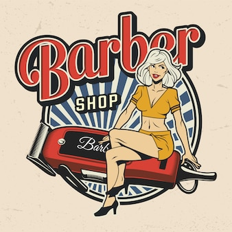 Kleurrijke barbershop label