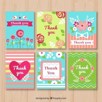 Kleurrijke bedankt yyou kaarten collectie