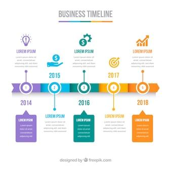 Kleurrijke bedrijfschronologie met vlak ontwerp