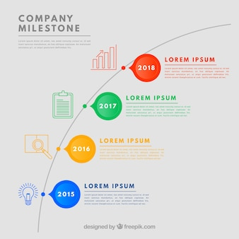 Kleurrijke bedrijfsmijlpalen met een plat ontwerp