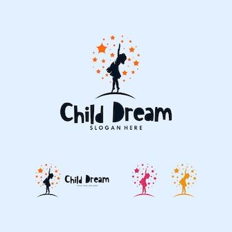 Kleurrijke bereiken dromen logo ontwerpsjabloon