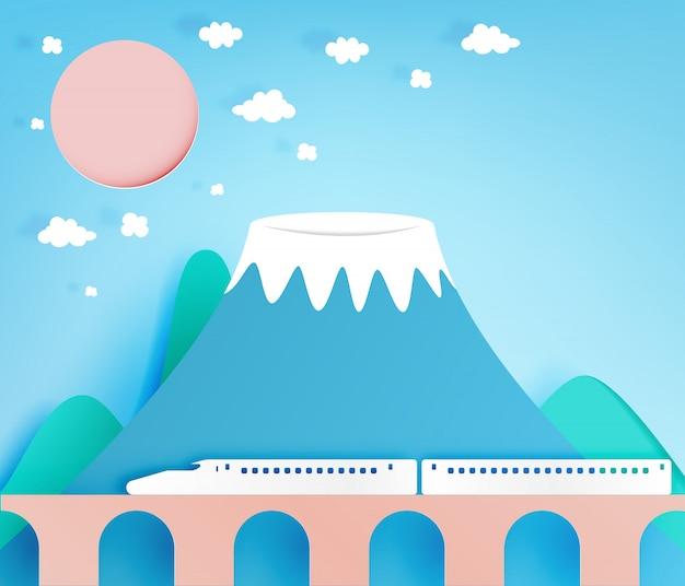 Kleurrijke berg papier gesneden stijl achtergrond vectorillustratie